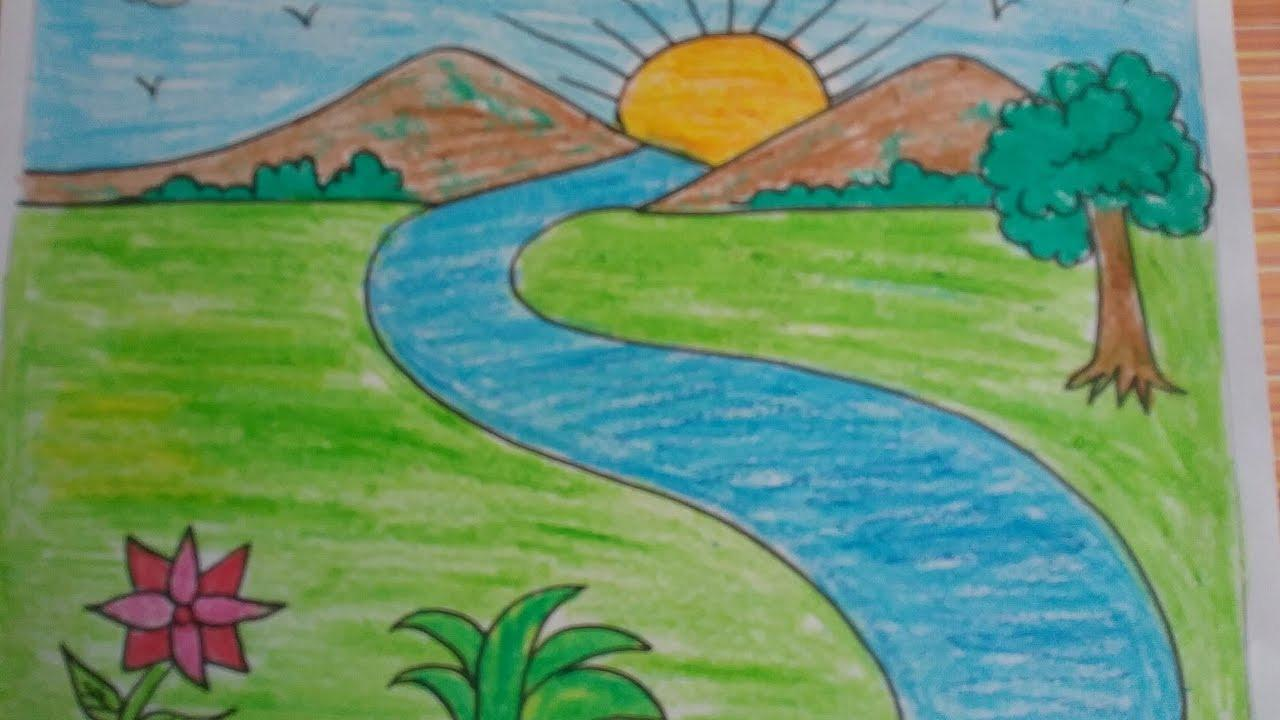 Nature Drawing Color Easy Kids Draw Landscape
