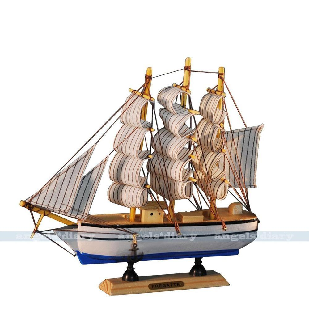 Nautical Handcrafted Wood Model Ship Sailing Boat Home