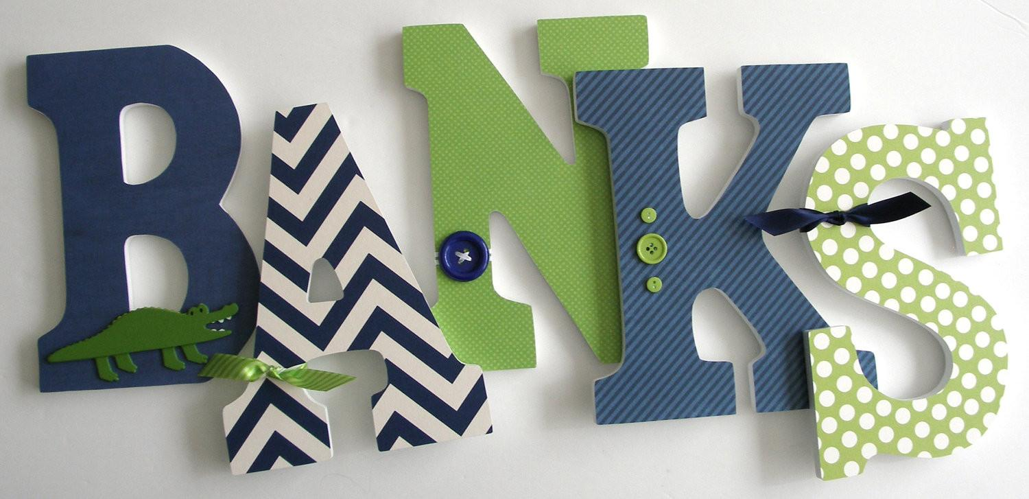 Navy Blue Green Custom Wooden Letters Personalized Nursery