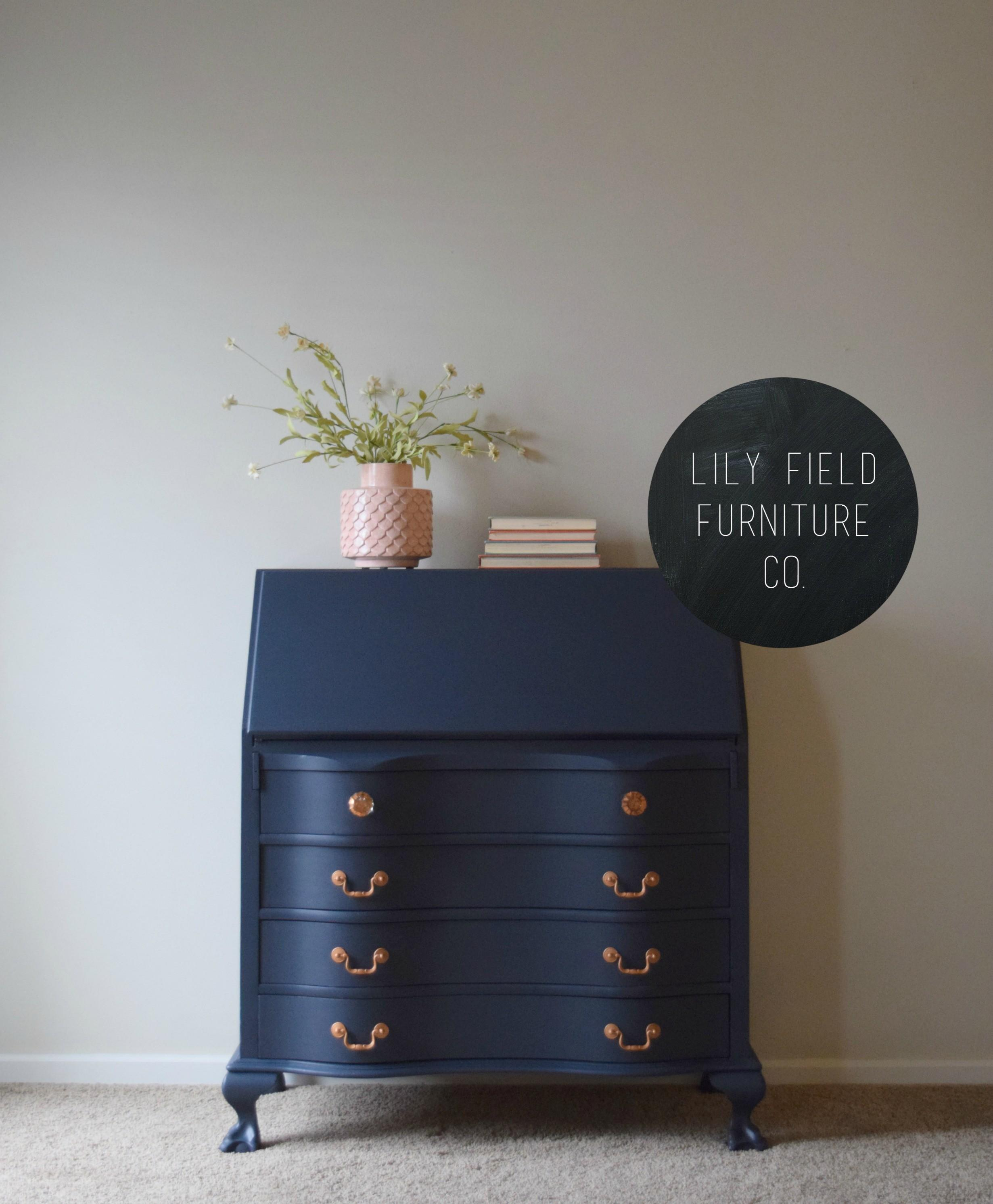 Navy Copper Secretary Desk Makeover Lily Field