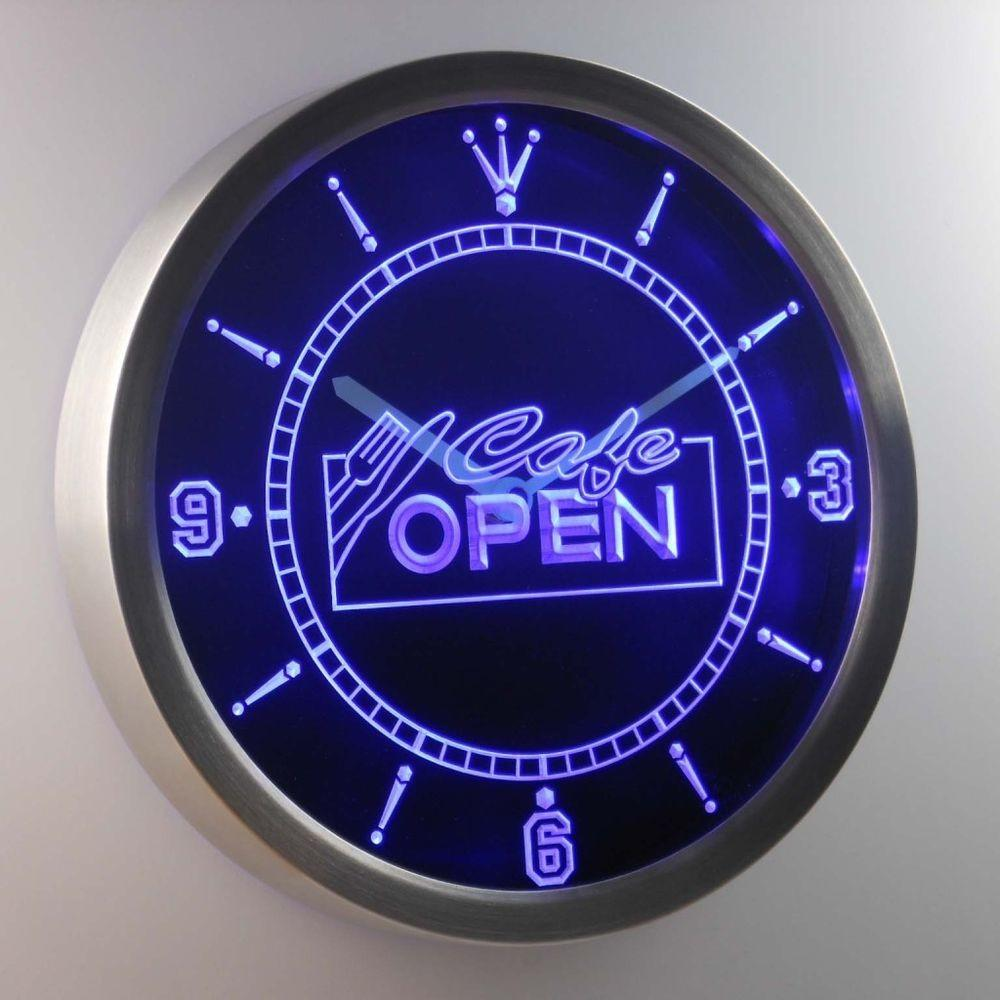 Nc0247 Cafe Open Display Neon Sign Led Clock