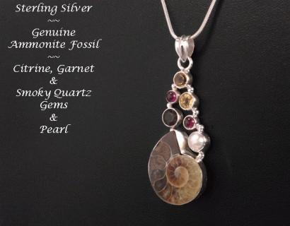 Necklace Ammonite Fossil Sterling Silver