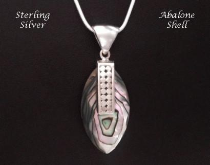 Necklace Artisan Crafted Abalone Shell Sterling