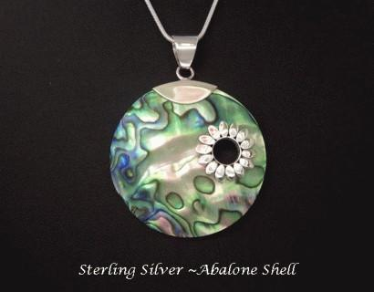 Necklace Large Abalone Shell Disc Sterling