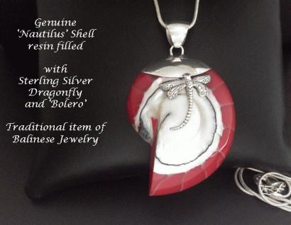 Necklace Nautilus Shell Sterling Silver Dragonfly