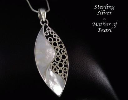 Necklace Ornate Sterling Silver Mother Pearl
