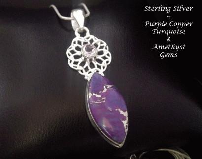 Necklace Purple Copper Turquoise Amethyst Gems
