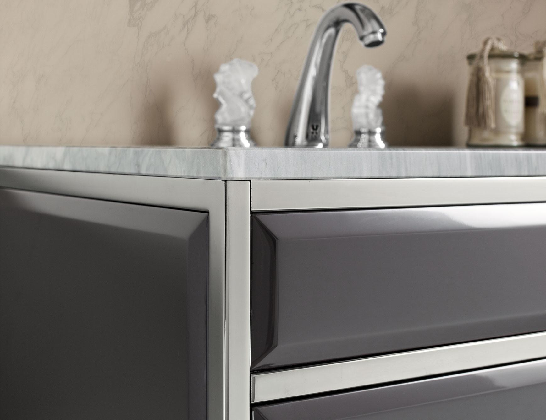 Nella Vetrina High End Italian Bathroom Vanity Gray Glass