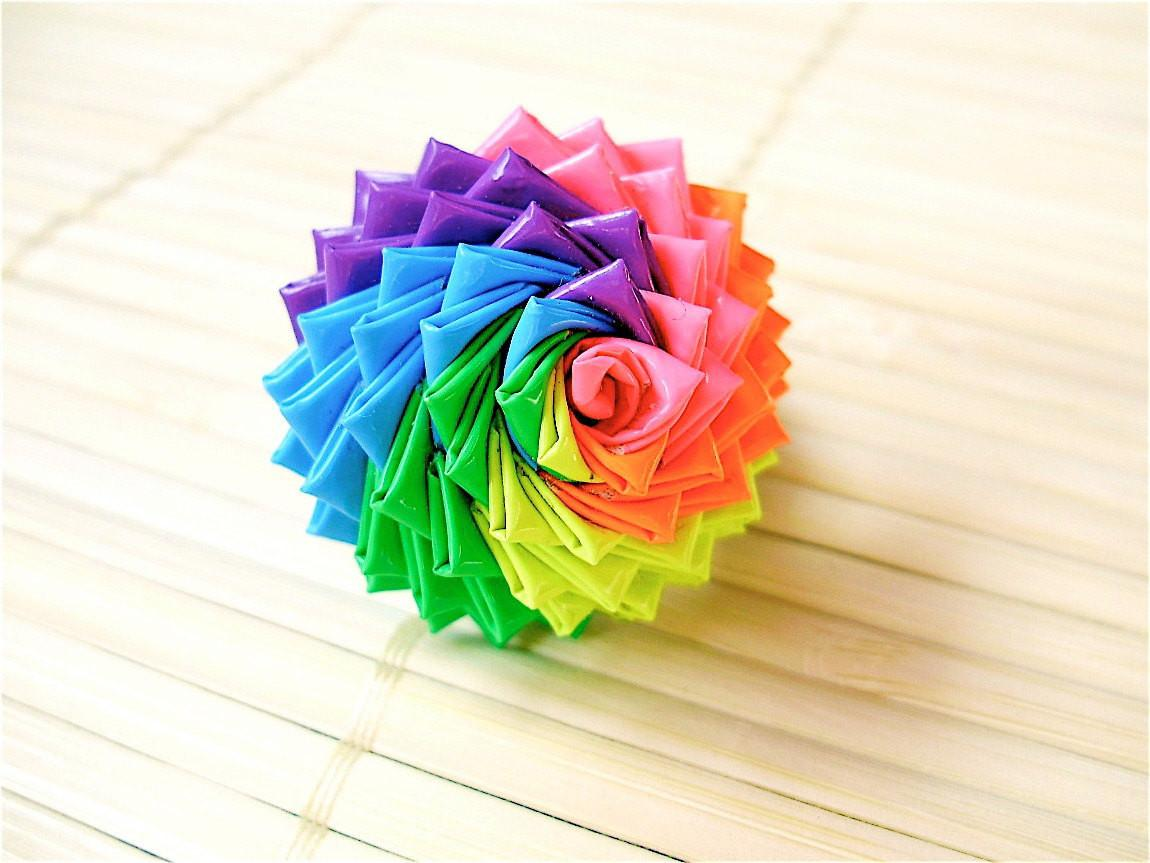 Neon Rainbow Duct Tape Rose Ring Bestselling