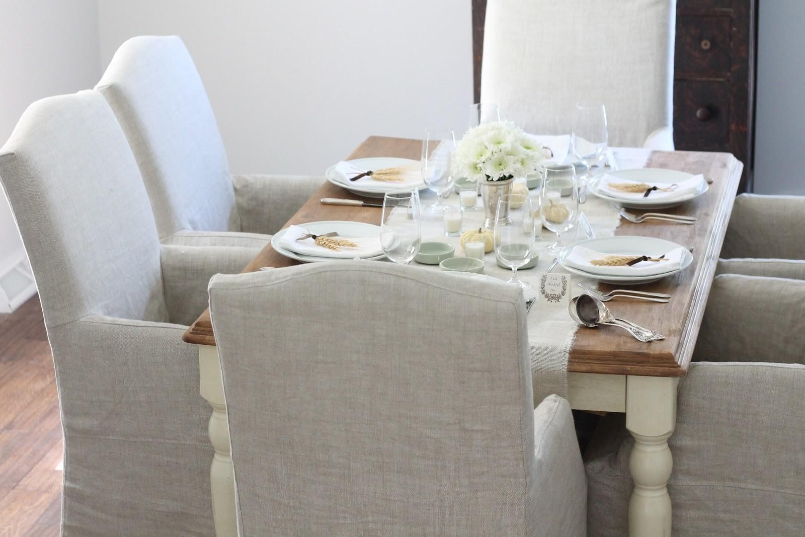Neutral Last Minute Thanksgiving Table Setting