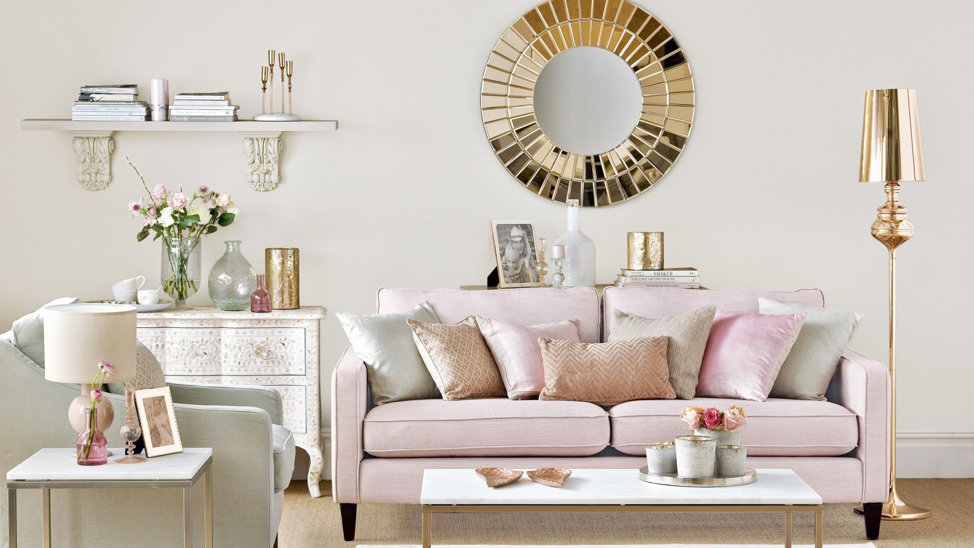 Neutral Living Room Rose Gold Pink Accents