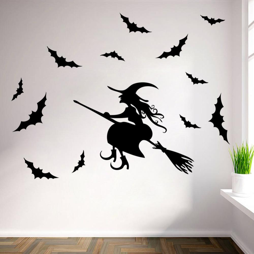New 2015 Halloween Witch Wall Stickers Diy Home Decor