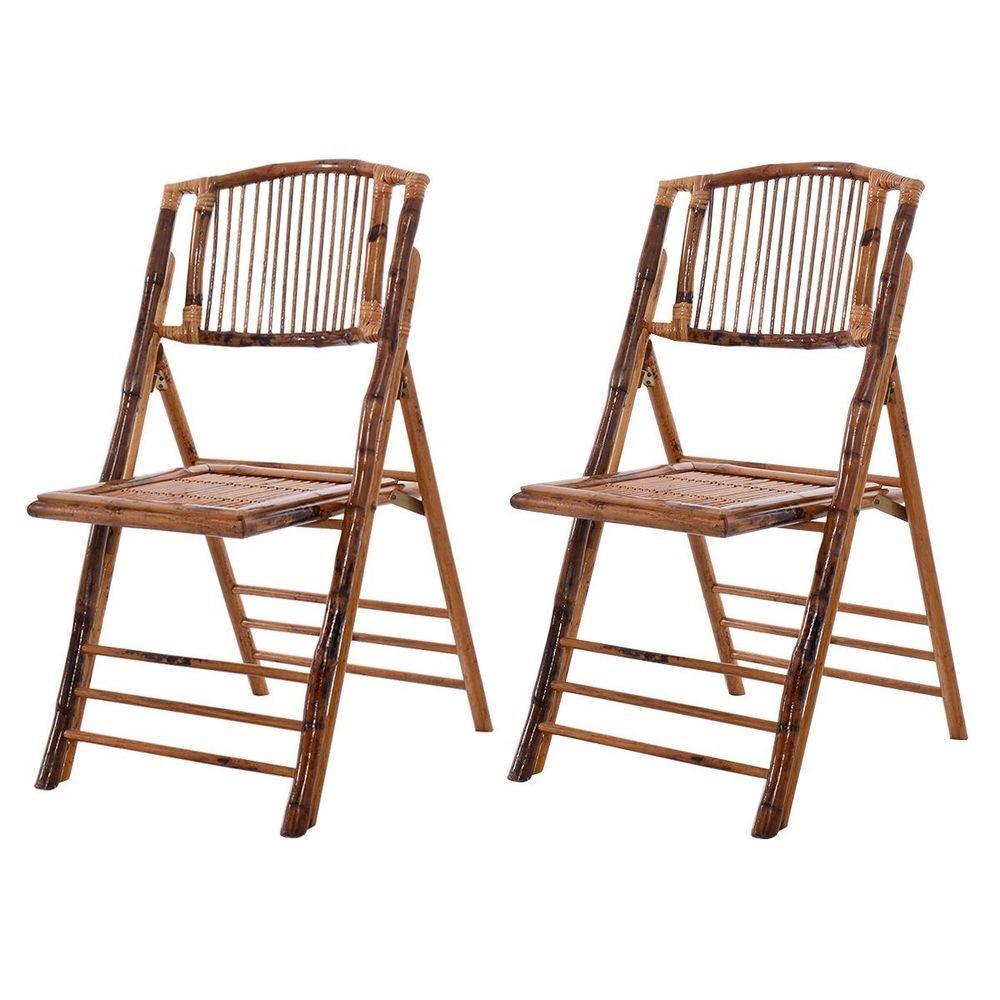 New Bamboo Folding Chairs Patio Garden Wedding Party