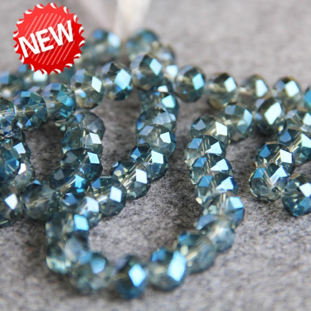 New Bracelet 10mm Faceted Blue Colorful Glass