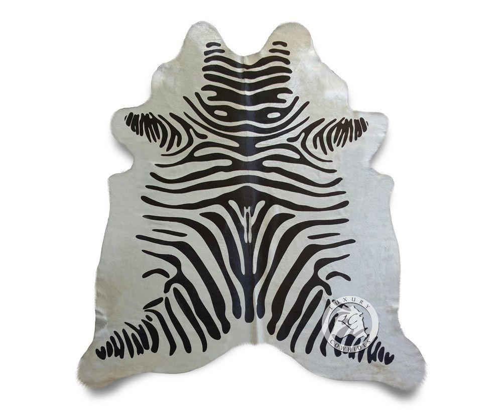 New Brazilian Cowhide Rug Zebra White Cow Skin