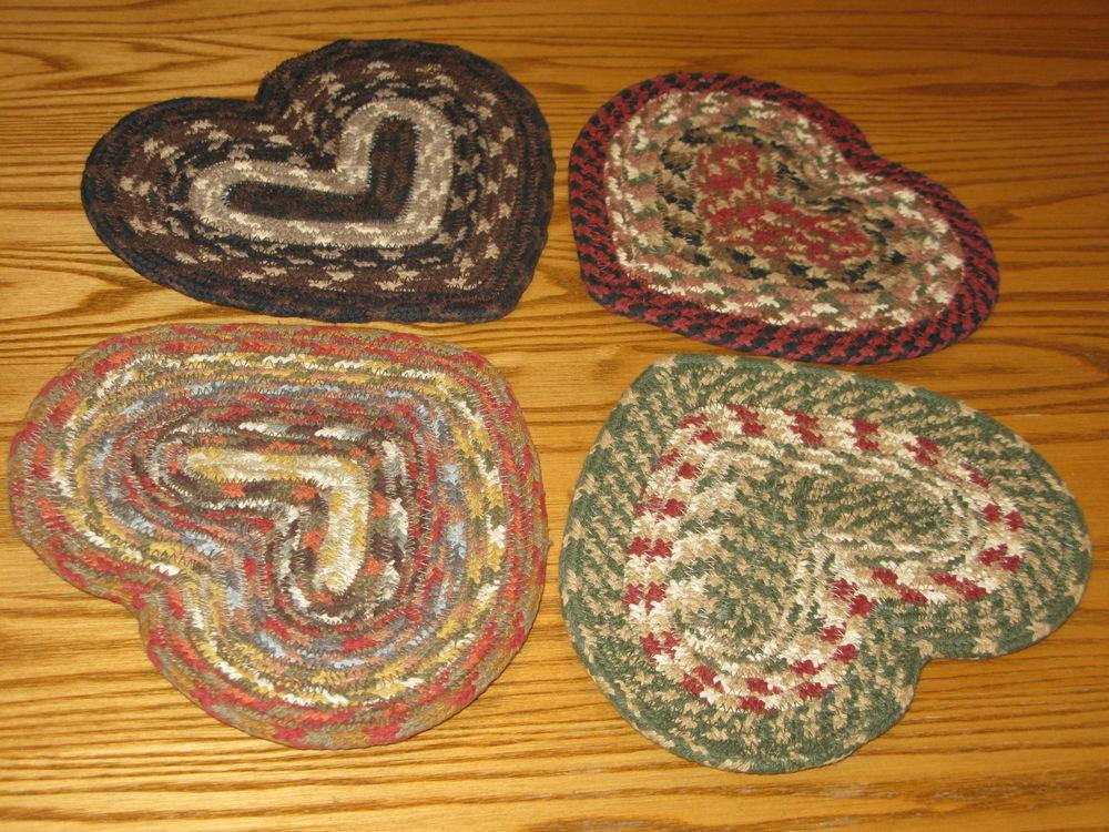New Capitol Earth Braided Heart Shaped Trivets Large