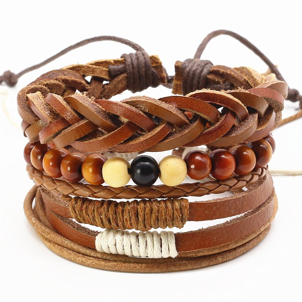 New Casual Fashion Beads Diy Handmade Woven Leather Men