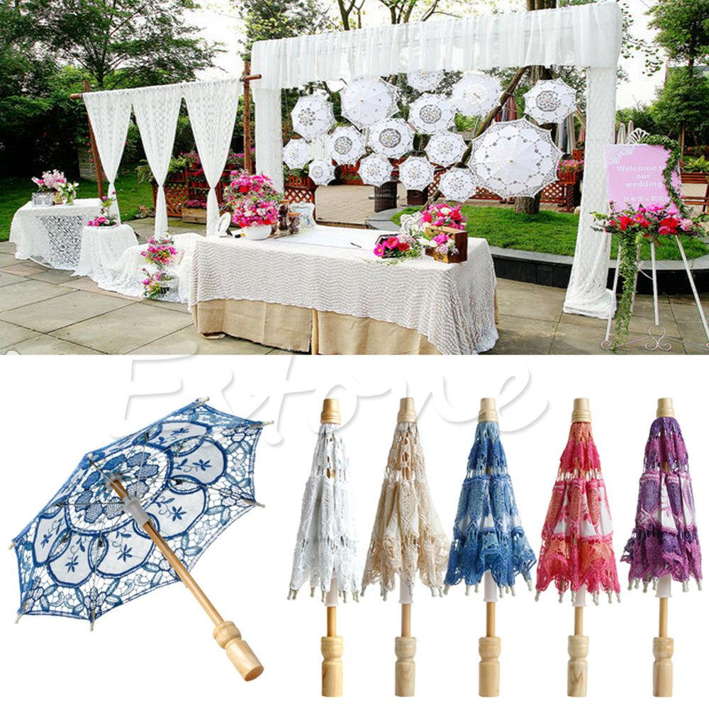 New Embroidered Lace Parasol Umbrella Bridal Wedding