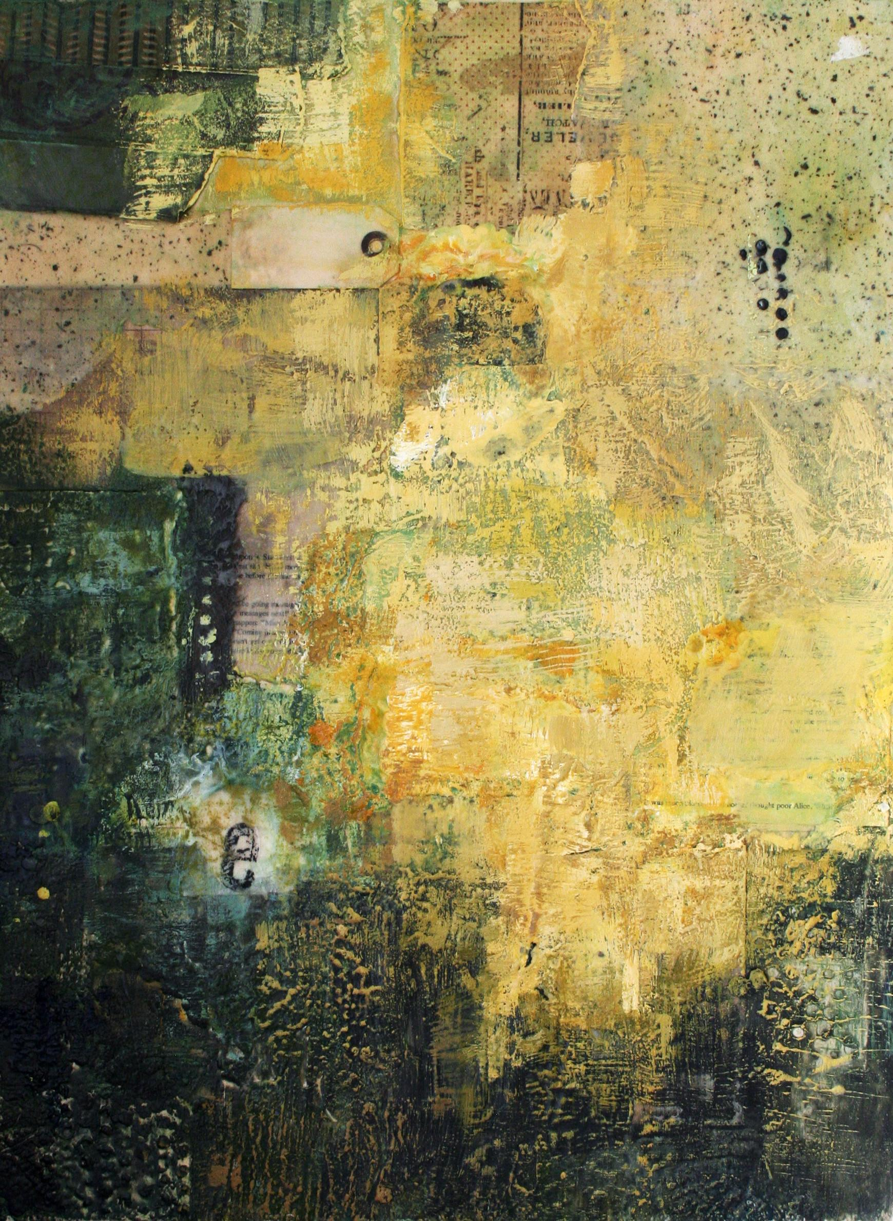 New Encaustic Collage Painting Poor Alice Gia