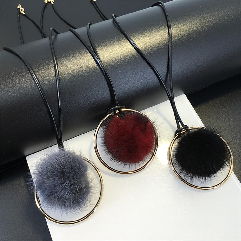 New Fashion Women All Match Fur Ball Long Pendant Necklace