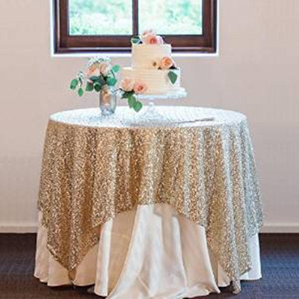 New Gold Sequin Tablecloth Overlays Fancy Wedding