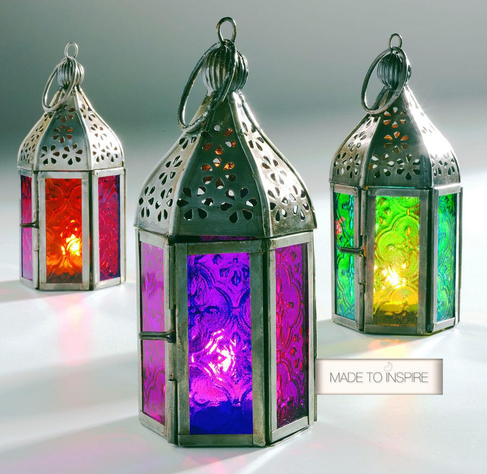 New Indian Moroccan Mini Iron Glass Lantern Tea Light