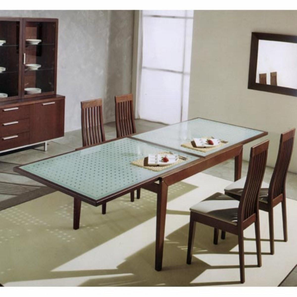 New Material Design Glass Dining Room Table Floral