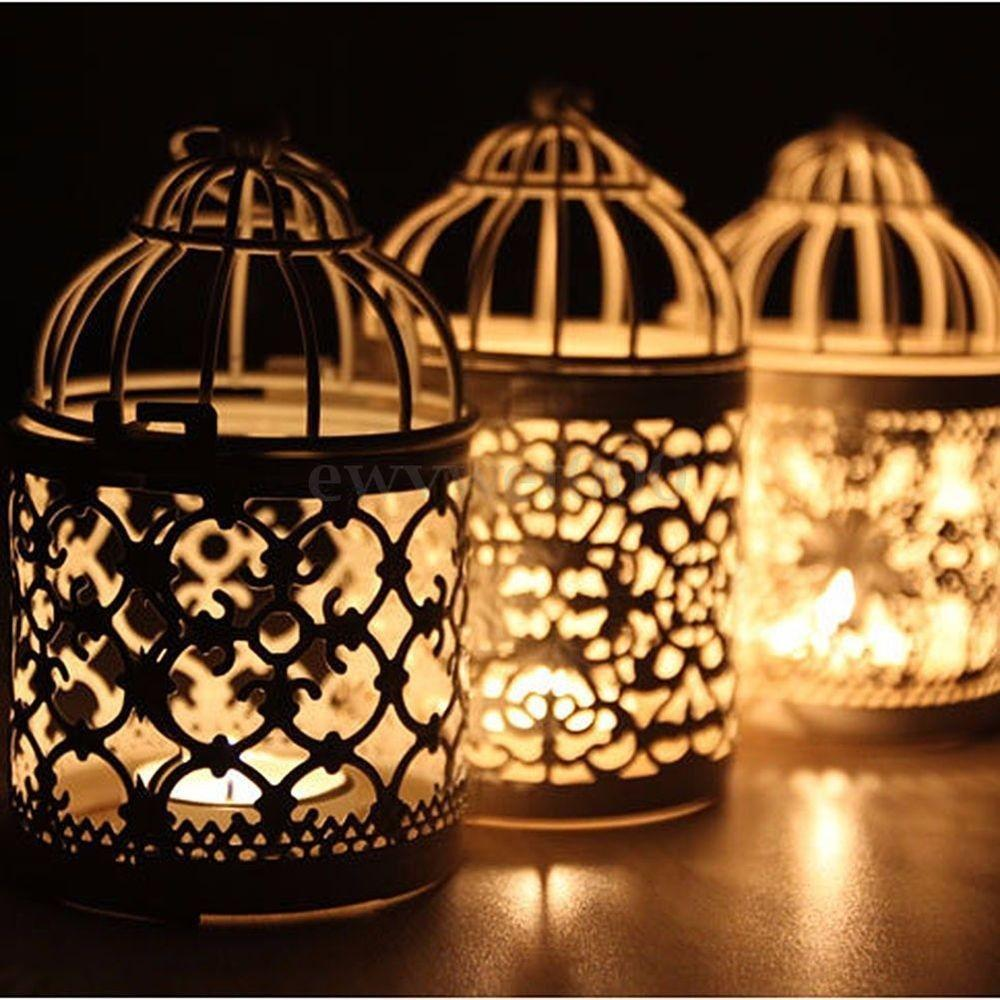 New Metal Round Moroccan Votive Candle Holder Hanging