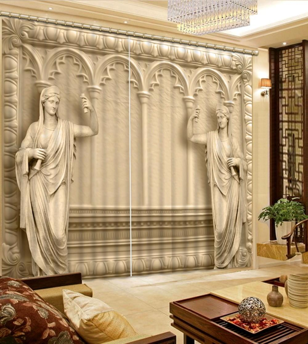 New Style Curtains Living Room Relief Roman