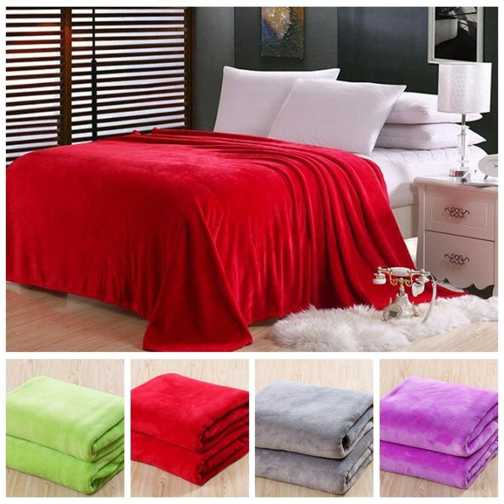 New Super Soft Luxurious Fleece Throw Blanket Solid
