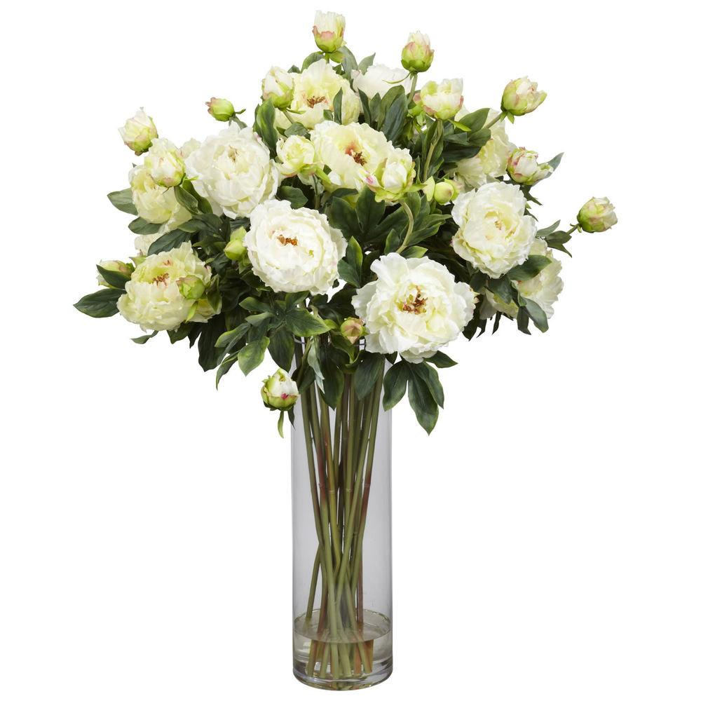 New Tall White Giant Peony Artificial Silk Fake Flower