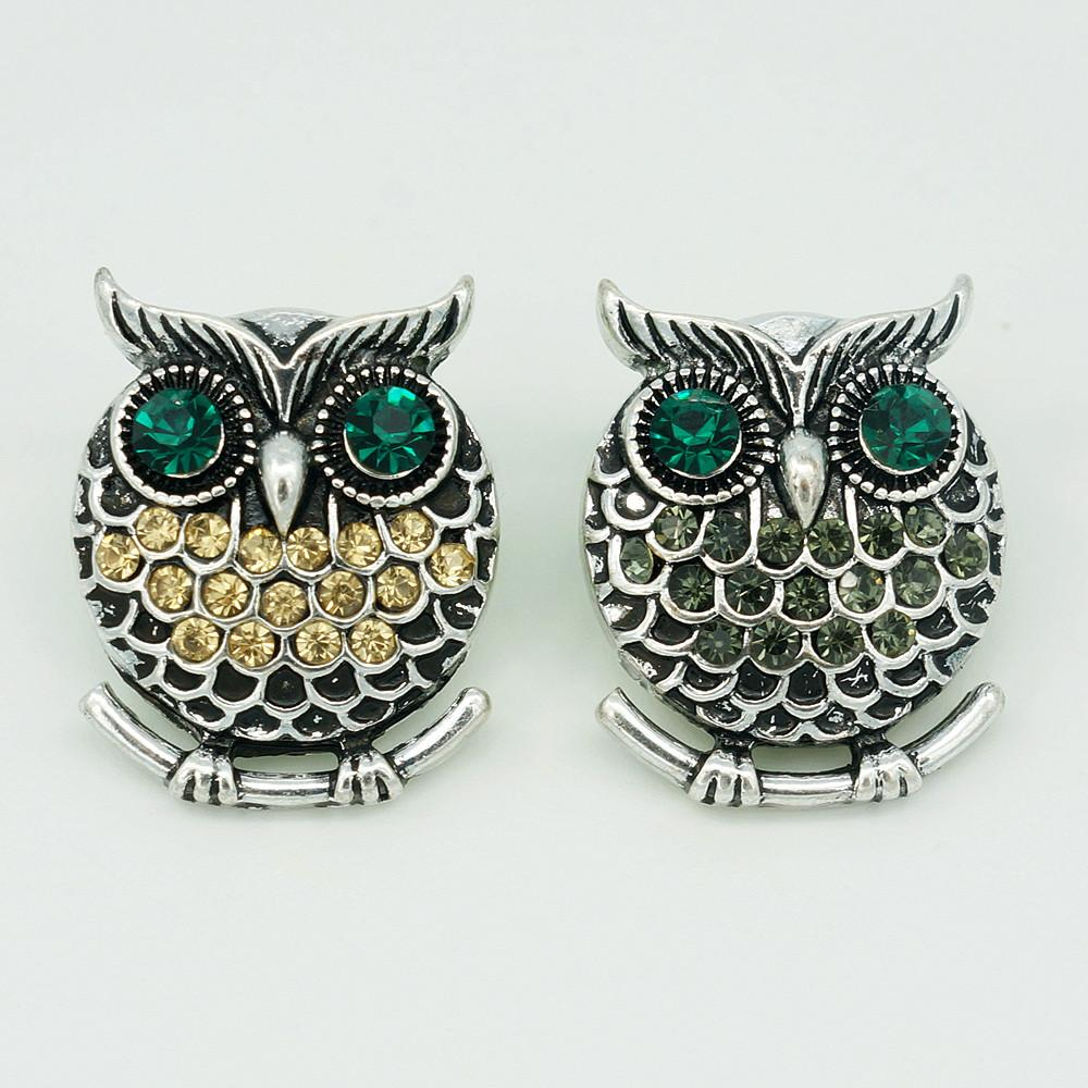 New Trendy Fashion Rhinestone Owl 18mm Metal Snap Buttons