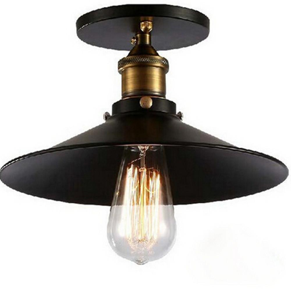 New Vintage American E27 Ceiling Lamp Iron Black Aisle