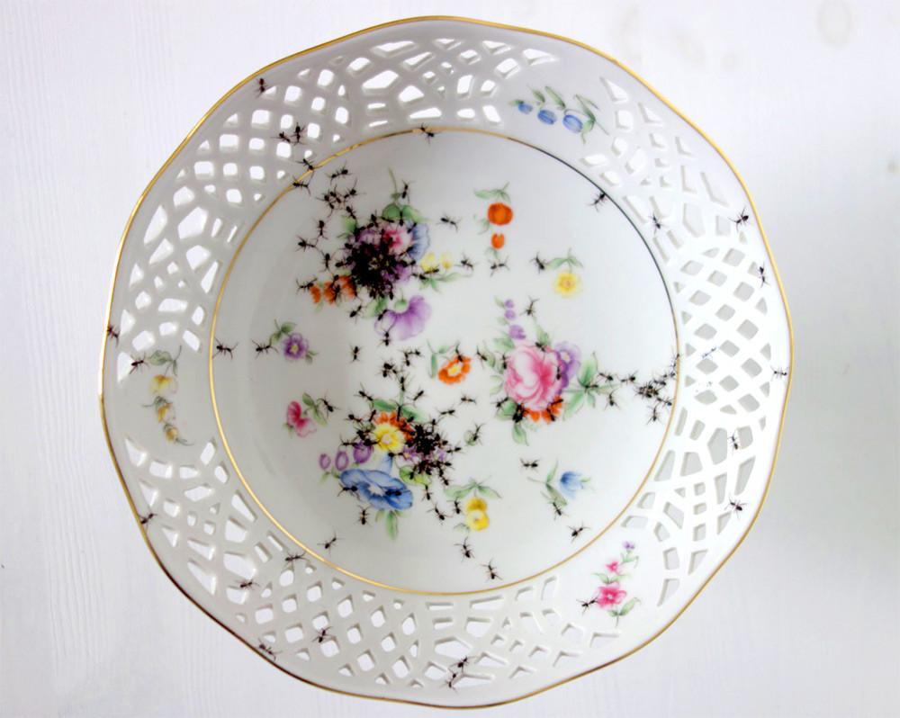 New Vintage Porcelain Dishes Crawling Hand Painted