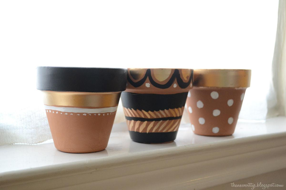 New Wittys Painted Flower Pots Gold Liquid