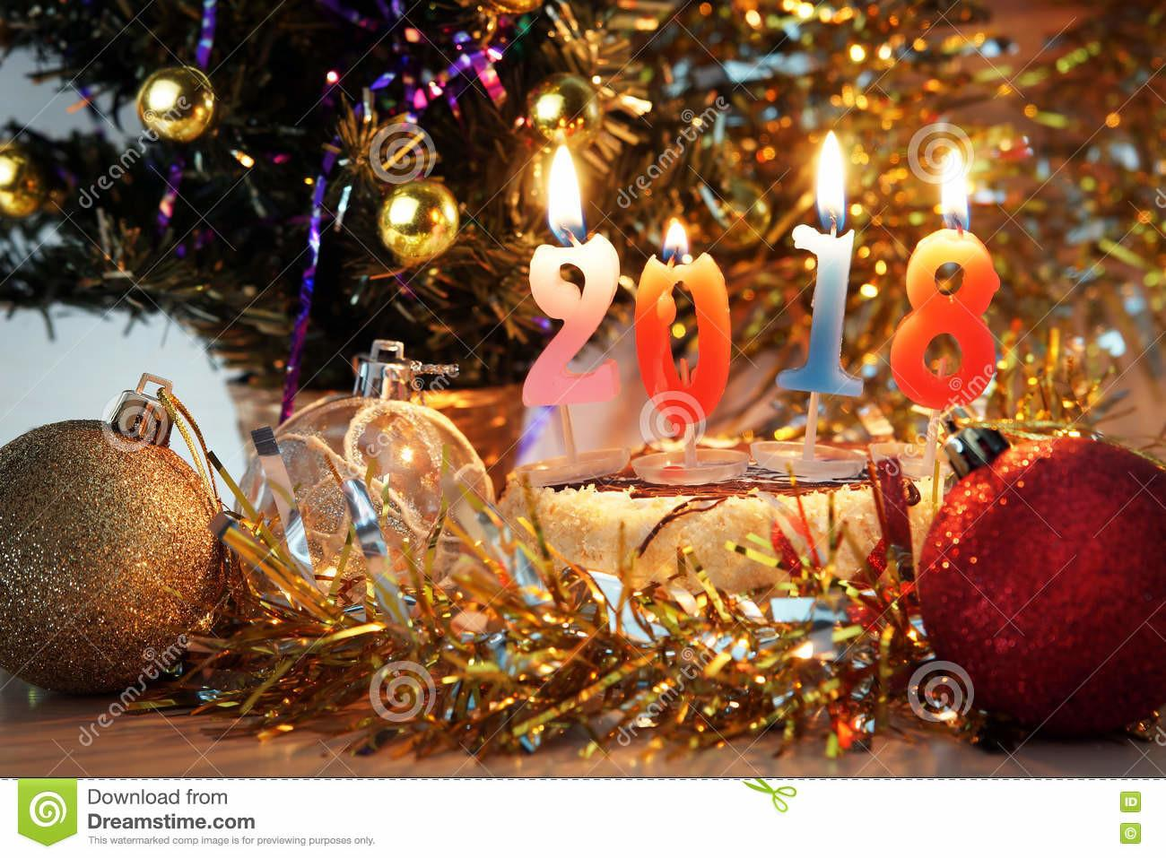 New Year 2018 Composition Holiday Decorations Burning