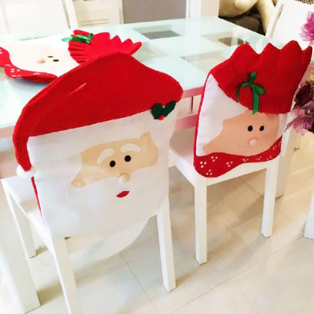 New Year Decor Home Christmas Chair Covers 2pcs