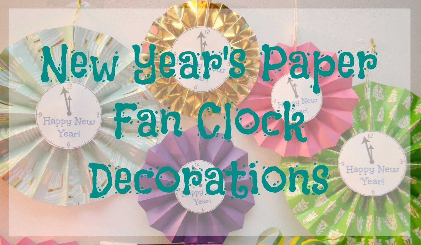 New Year Paper Fan Clock Decorations Nye Party
