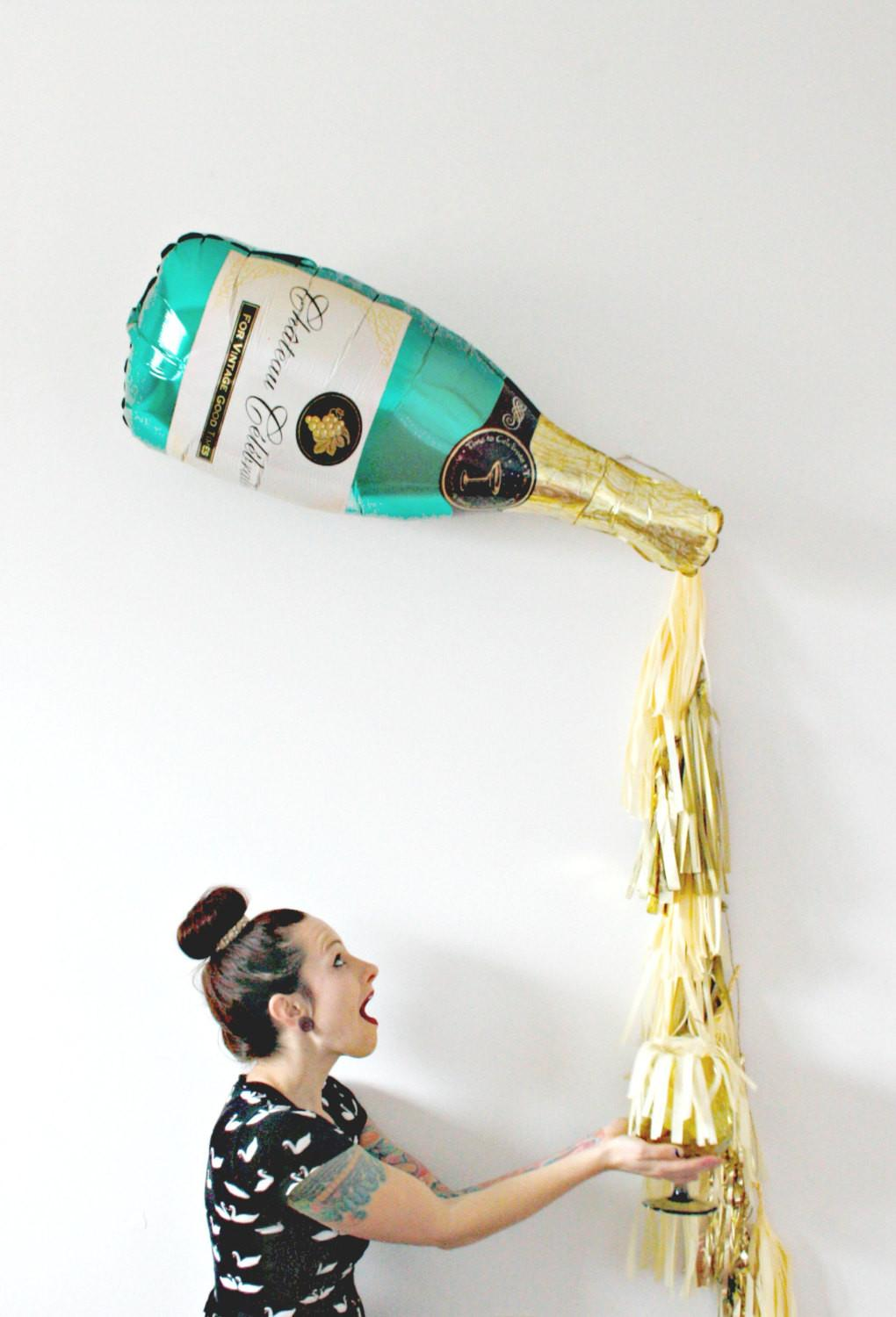 New Years Eve Champagne Bottle Tassel Balloon Bachelorette