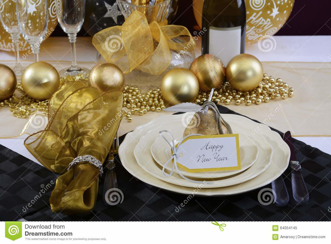 New Years Eve Dinner Table Setting Stock