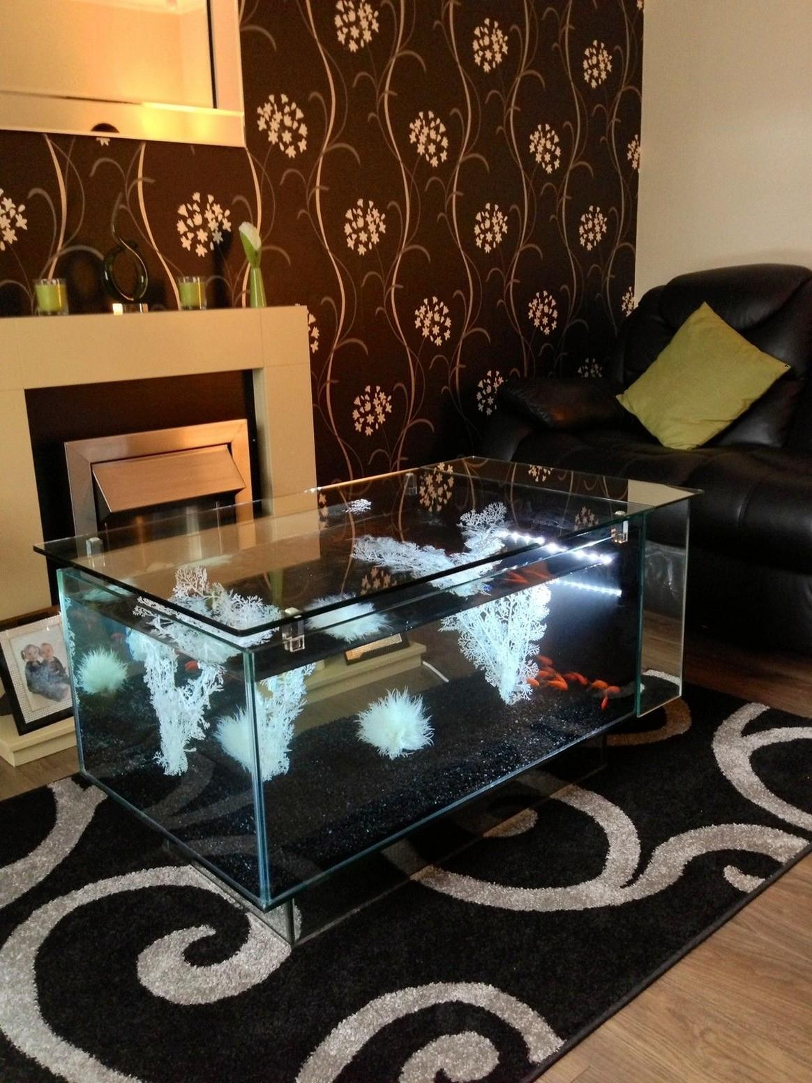 Nice Aquarium Coffee Table Above Beautiful Rug Modern