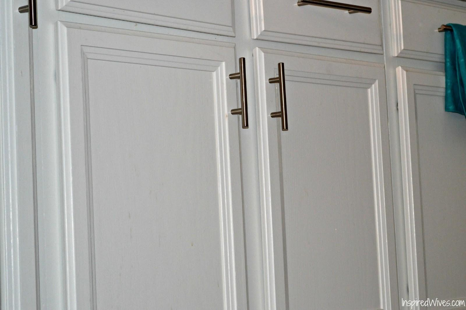 Nice Painting Cabinet Hardware White Paint Dried