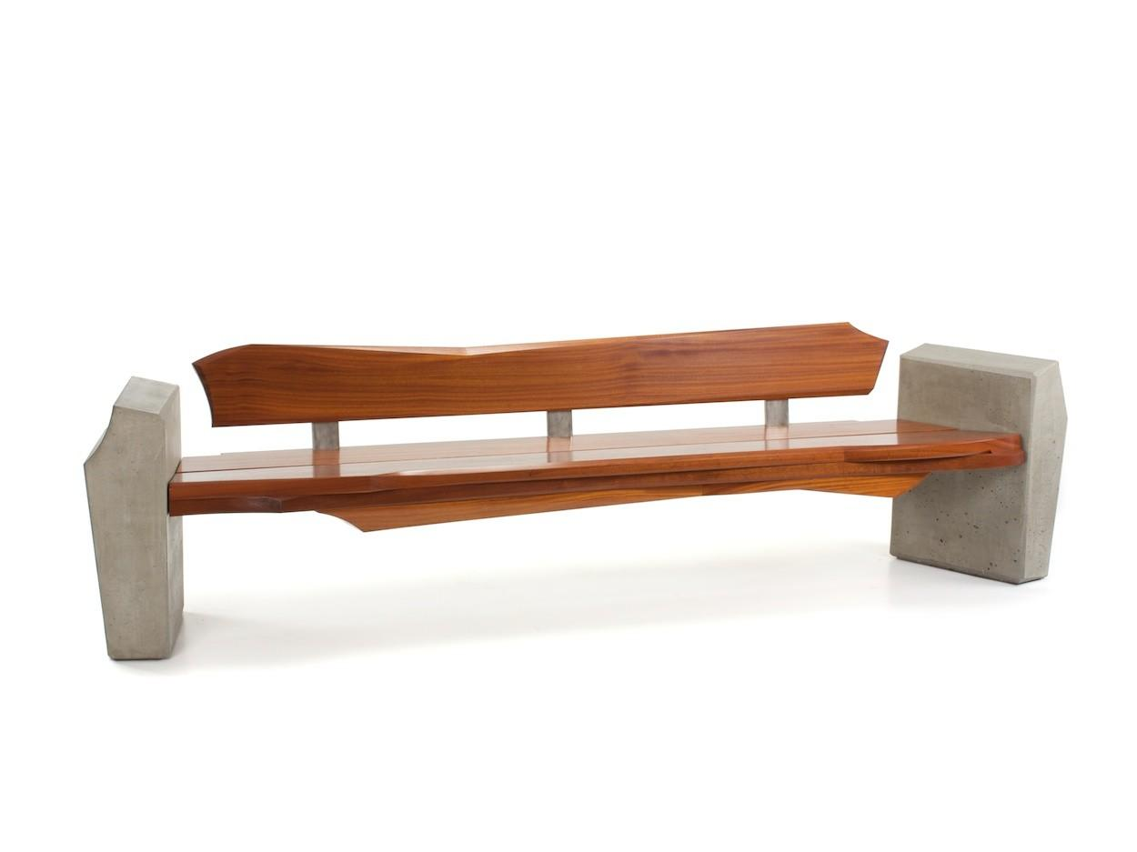 Nico Yektai Outdoor Bench Modern Made Sapele