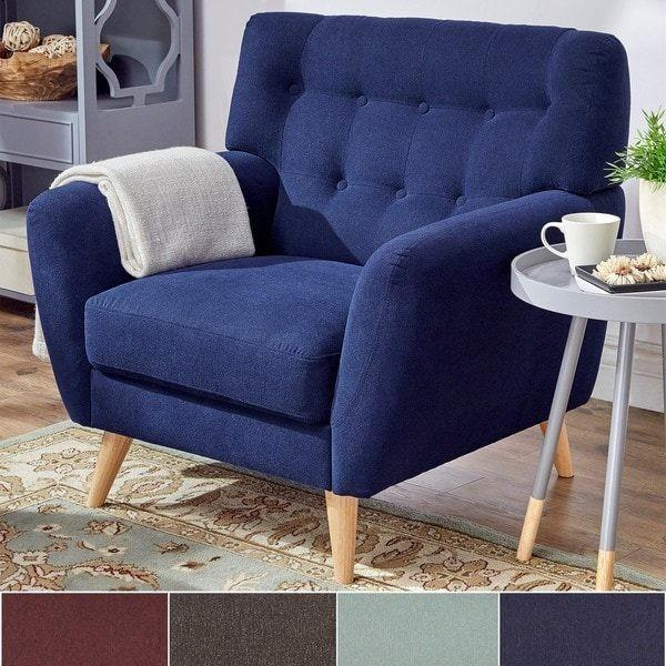 Niels Danish Modern Curved Tufted Upholstered Chair Mid