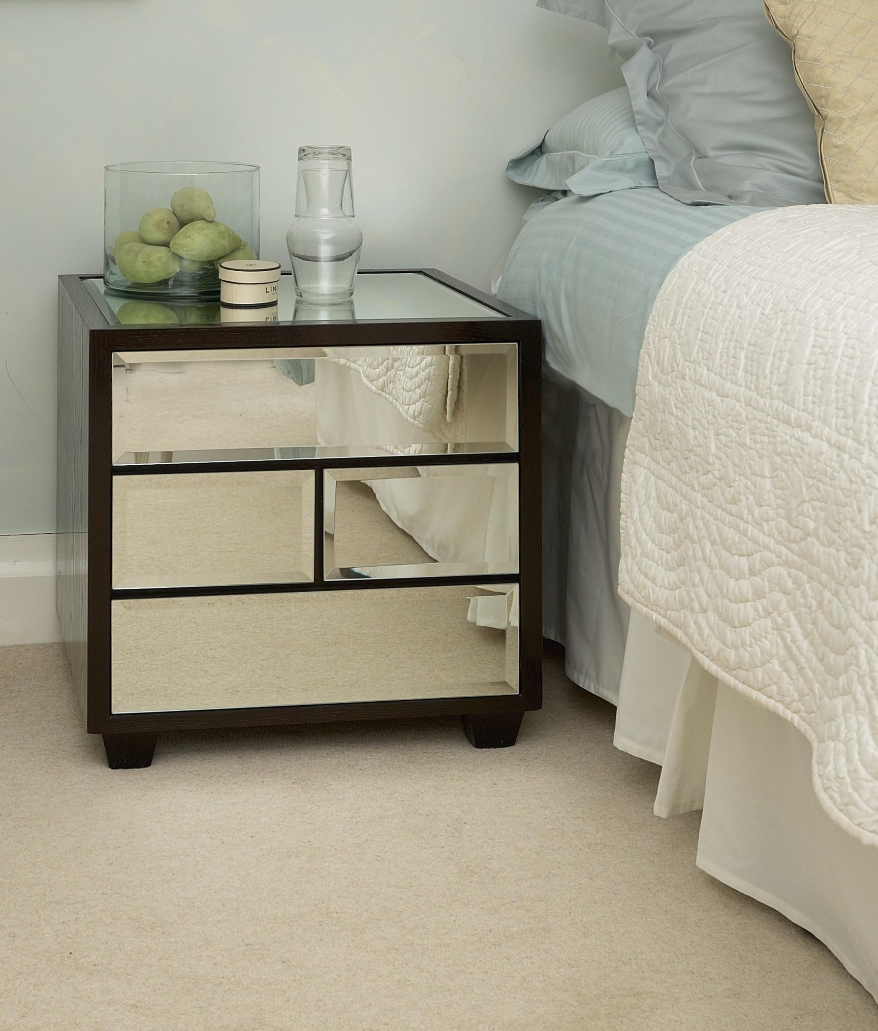 Night Tables Drawers White Glaze Wooden Nightstand