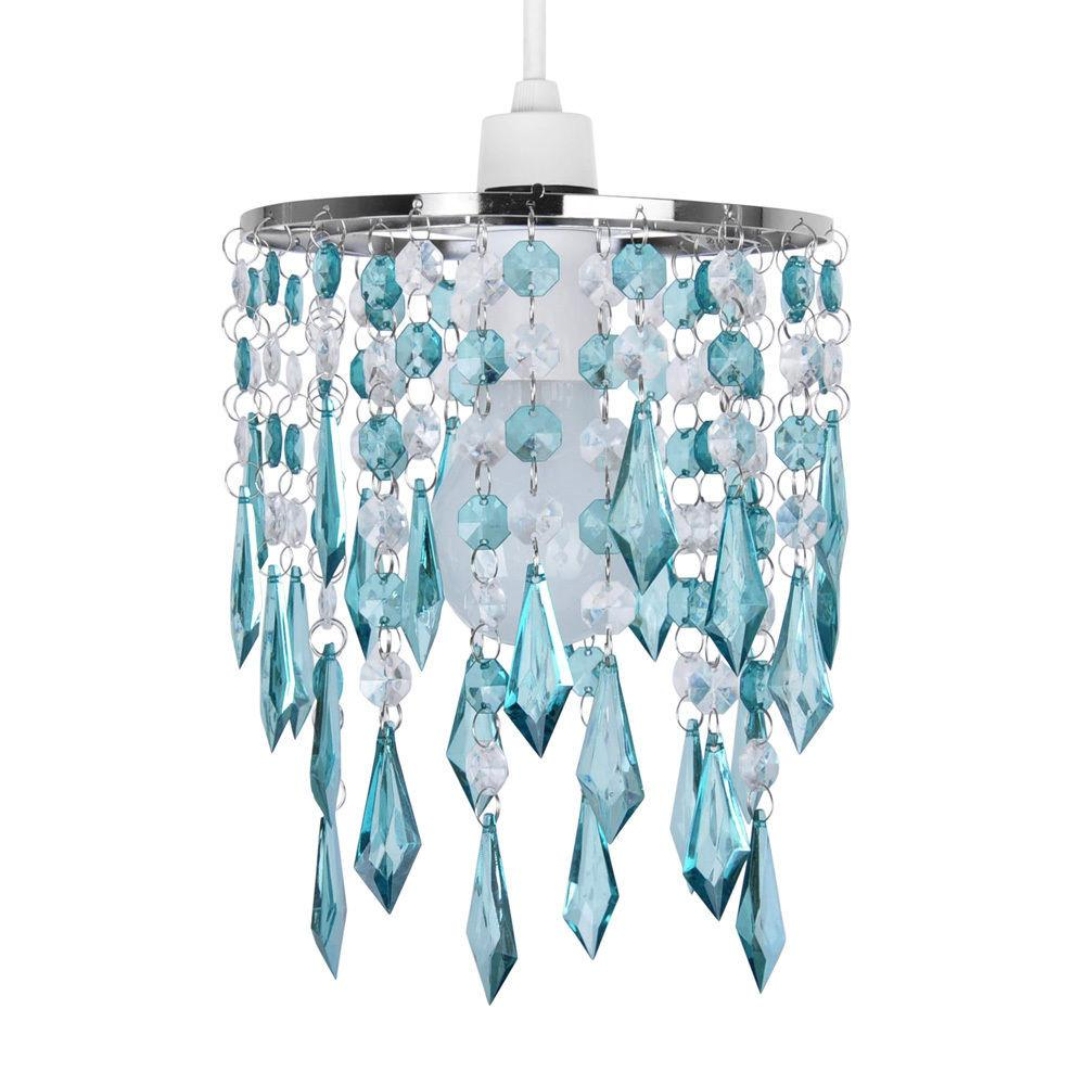 Non Electric Pendant Shade Teal Clear Acrylic