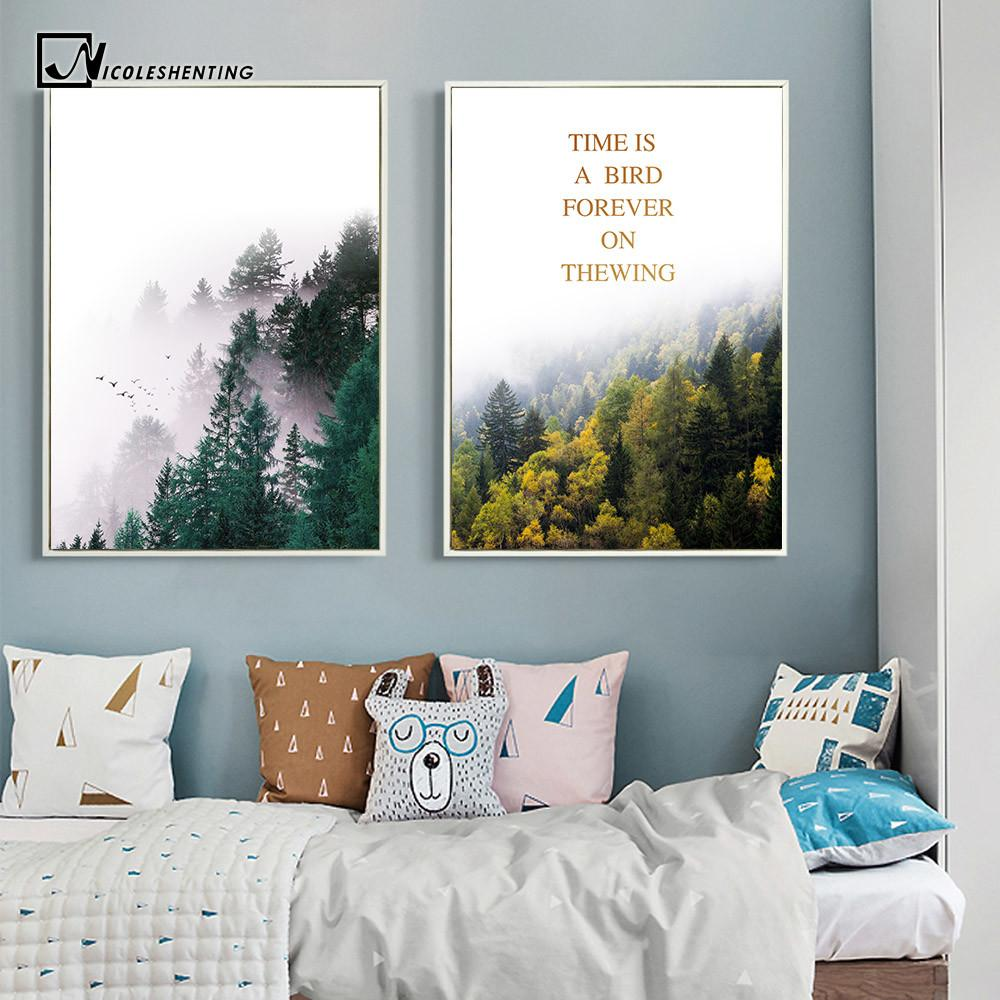 Nordic Style Forest Trees Nature Poster Print Motivational