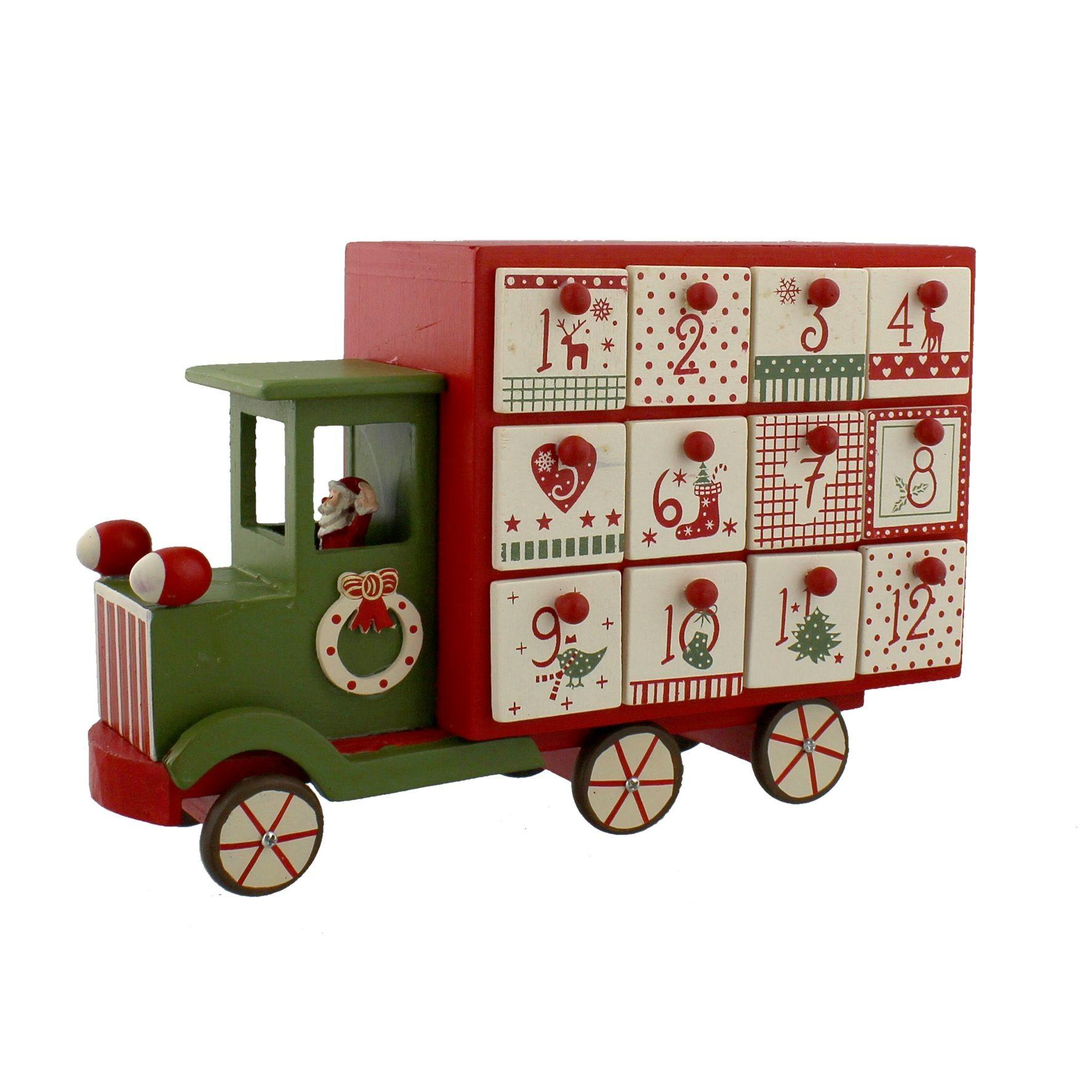 Nordic Style Wooden Advent Calender Drawers Red