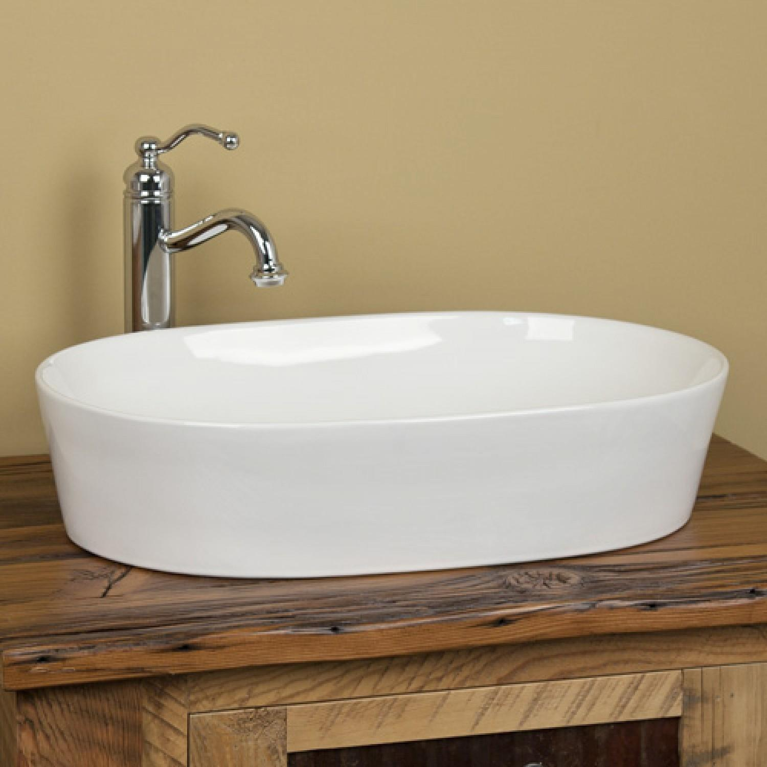 Norris Oval Porcelain Vessel Sink Bathroom