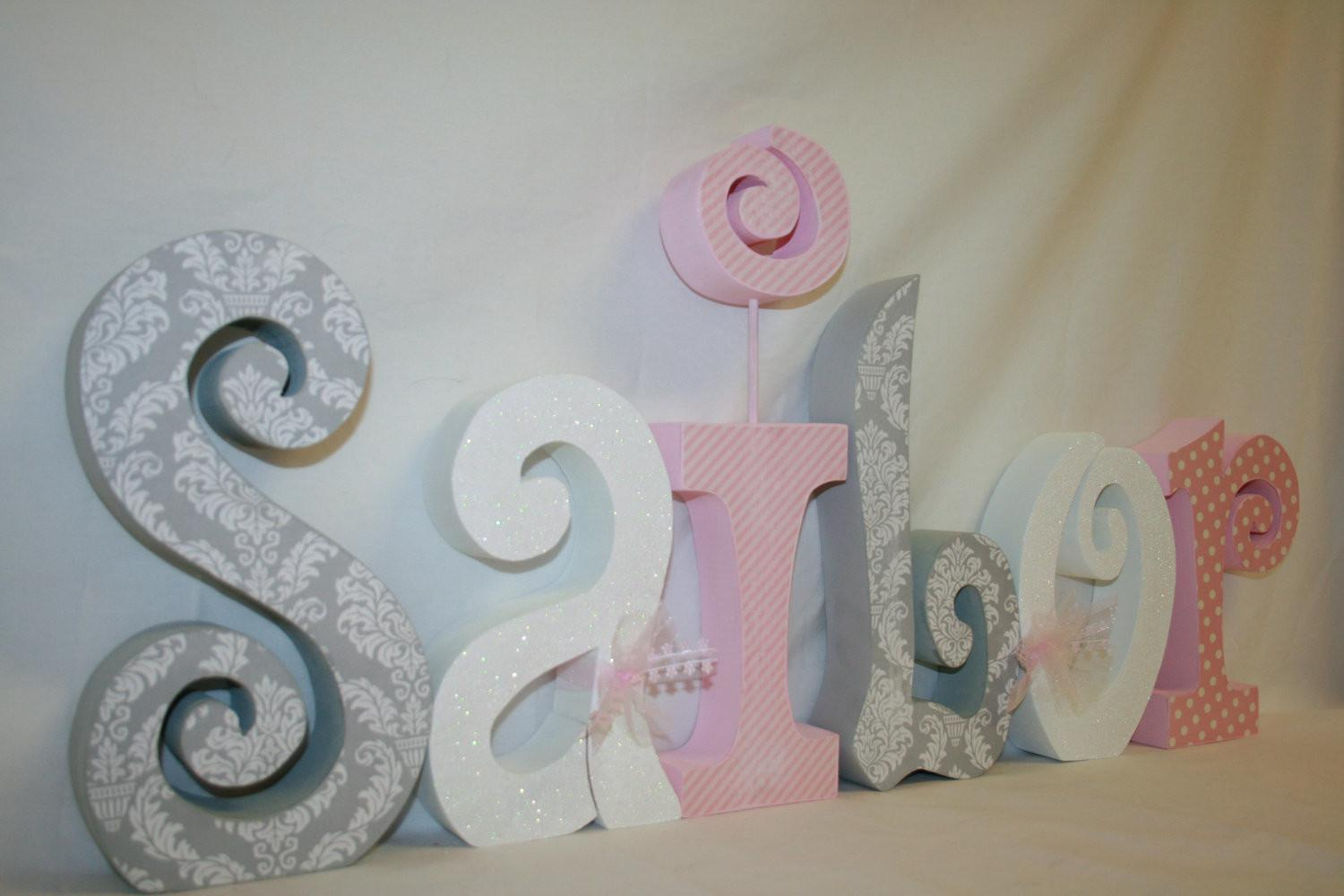 Nursery Letters Baby Girl Wooden Letter Set Pink